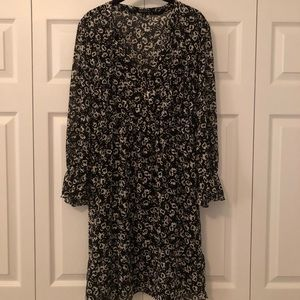 NWOT J. Crew black & white floral dress